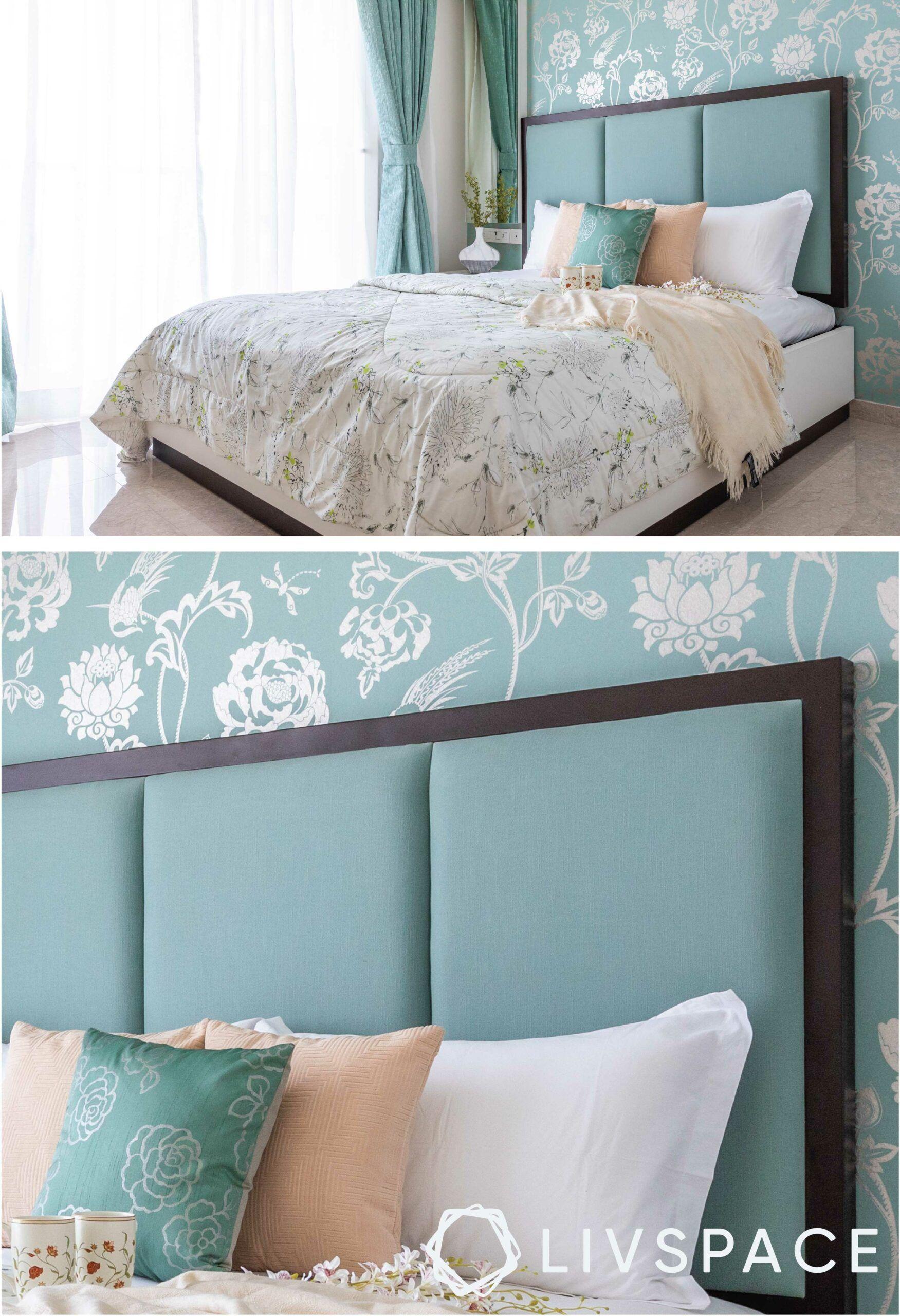 bedroom-design-pastel-wallpaper-minty-green-headboard