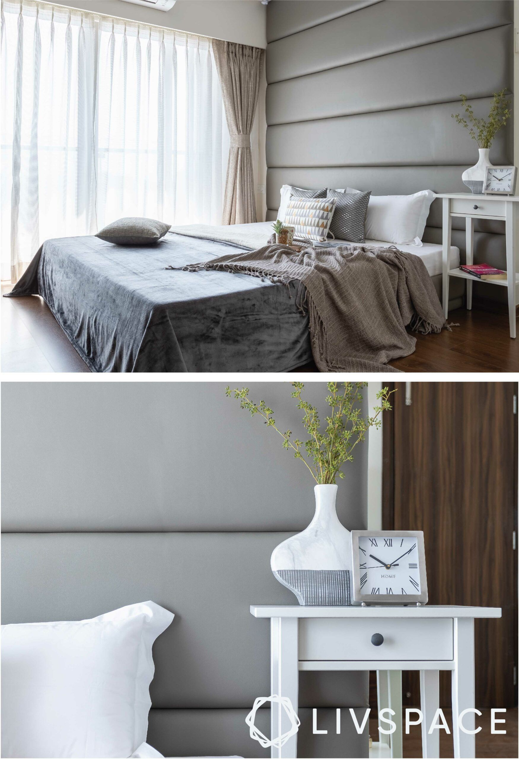 monochrome-large-headboard-bed-white-table