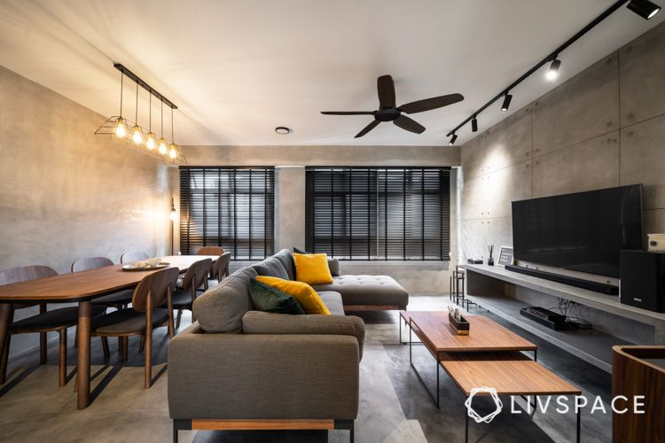 hdb bto-living room-dining chairs-cement-screed-TV-feature-spotlights-ceiling fan