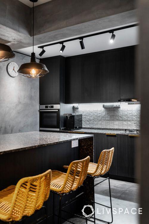 hdb bto-kitchen-yellow chairs-pendant lights