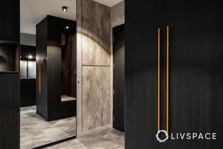hdb bto-foyer-mirror panel-black wardrobe