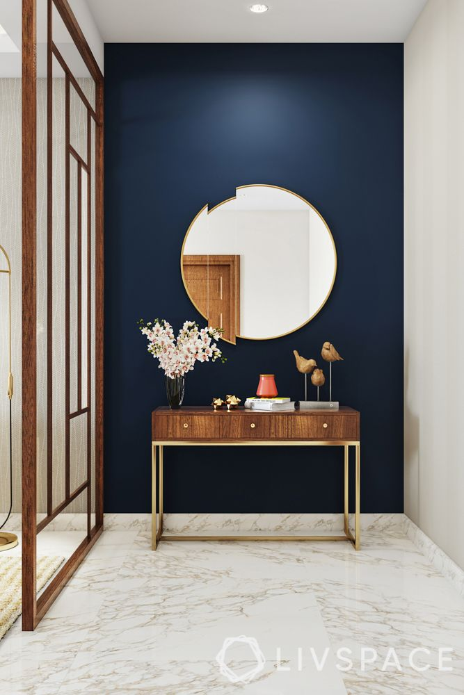 foyer design-wooden partition-foyer design-mirror-console table