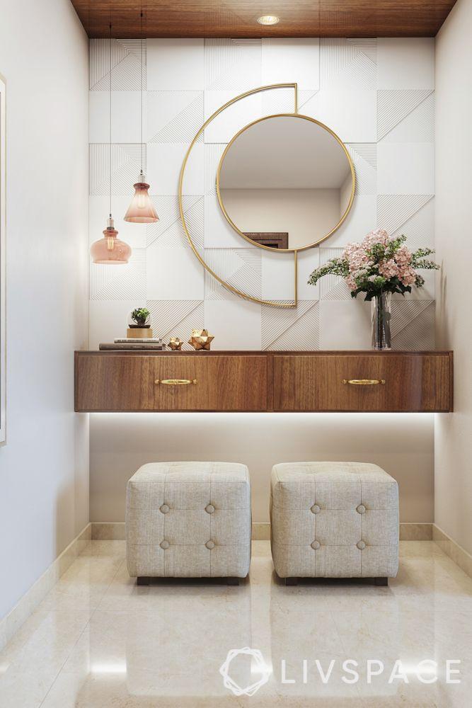 foyer design-white ottomans-entryway-mirror-storage-pendant lights