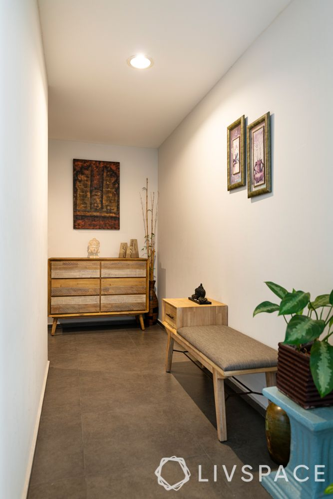 foyer design-wooden shoe rack-bench-plant-narrow entryway-compact spaces