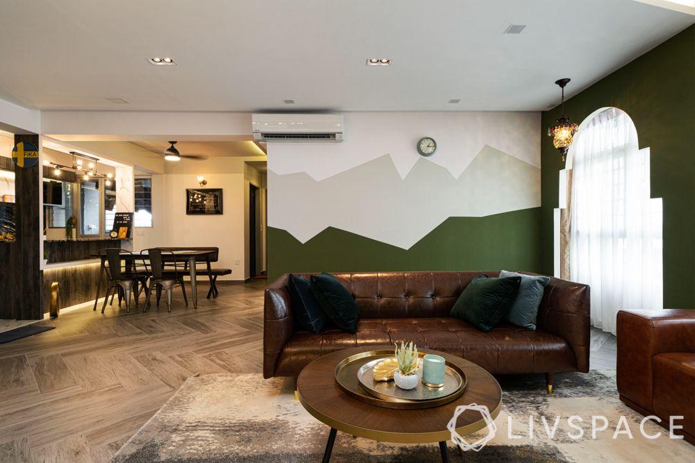 hdb 5 room design-living room-tv unit-profile lighting-chandelier