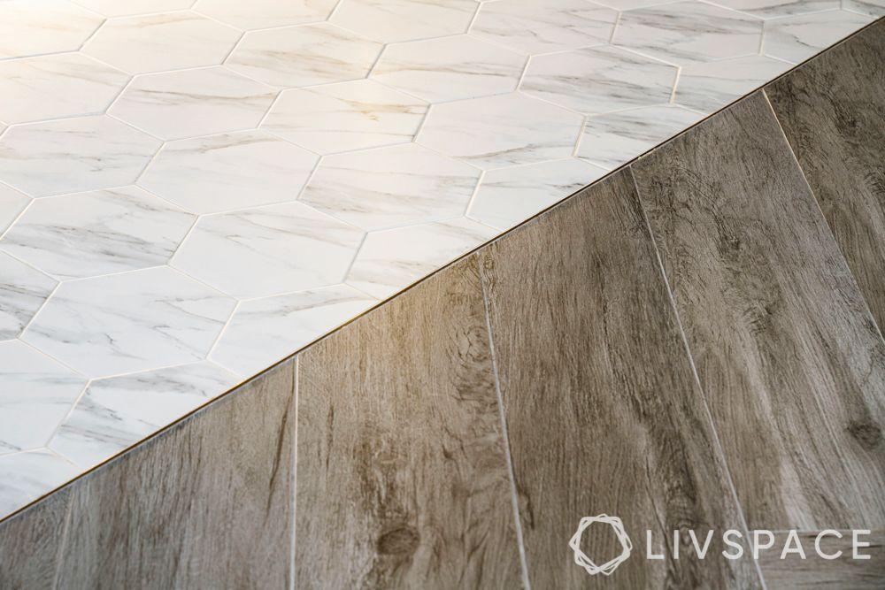 Floor-herringbone tiles-hexagonal tiles