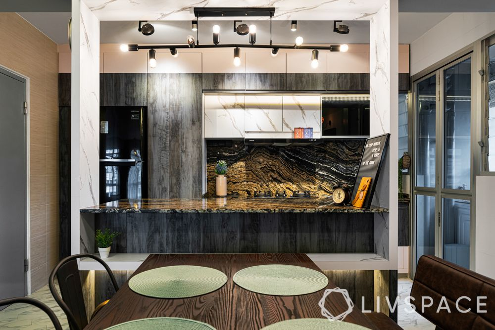 hdb 5 room design-granite countertop-laminate base cabinets-white marble top cabinets-metal handles