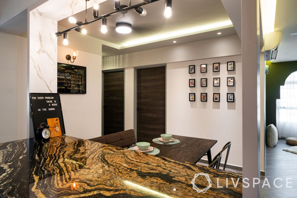 hdb 5 room design-kitchen island-dining table-gallery wall