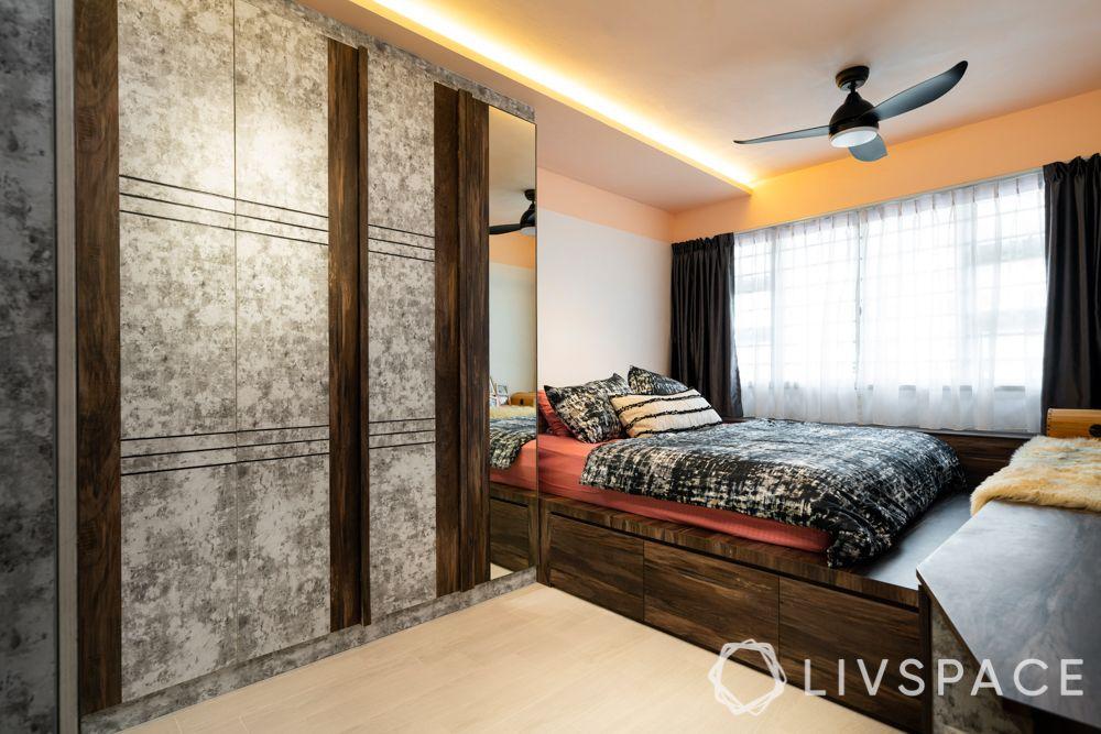 hdb 5 room design-master bedroom-false ceiling lighting-wardrobe