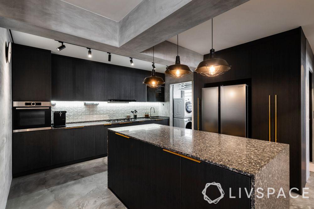 kitchen with island-granite countertop-storage
