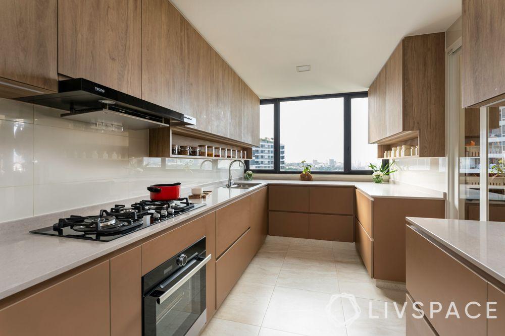 kitchen cabinet design-parallel kitchen-wooden laminate finish