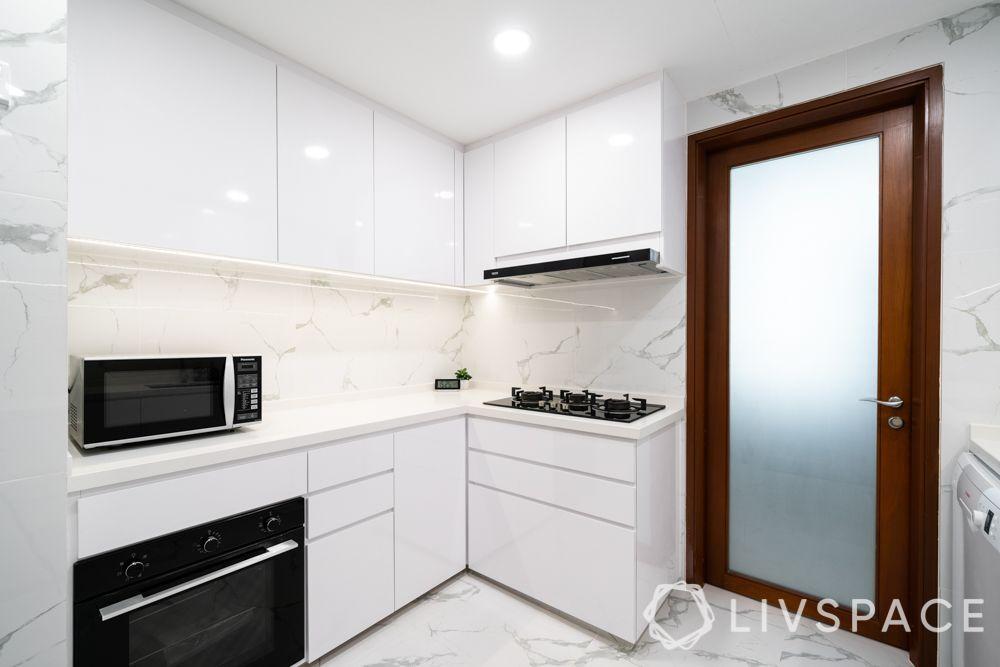 kitchen cabinet design-microwave-inbuilt oven-hob-white kitchen