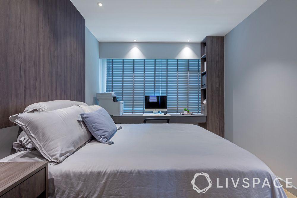 room colour ideas-grey bedroom-grey colour theme-wood