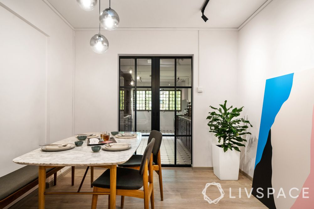 room colour ideas-dining room-art-pendant lights-plants quick and easy way to add colour