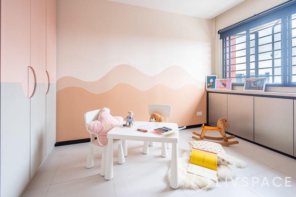 room colour ideas-pink colour-wardrobe-cabinet-white furniture