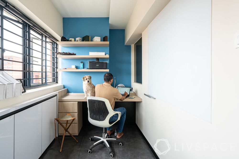 blue study room-cabinets-floating shelves