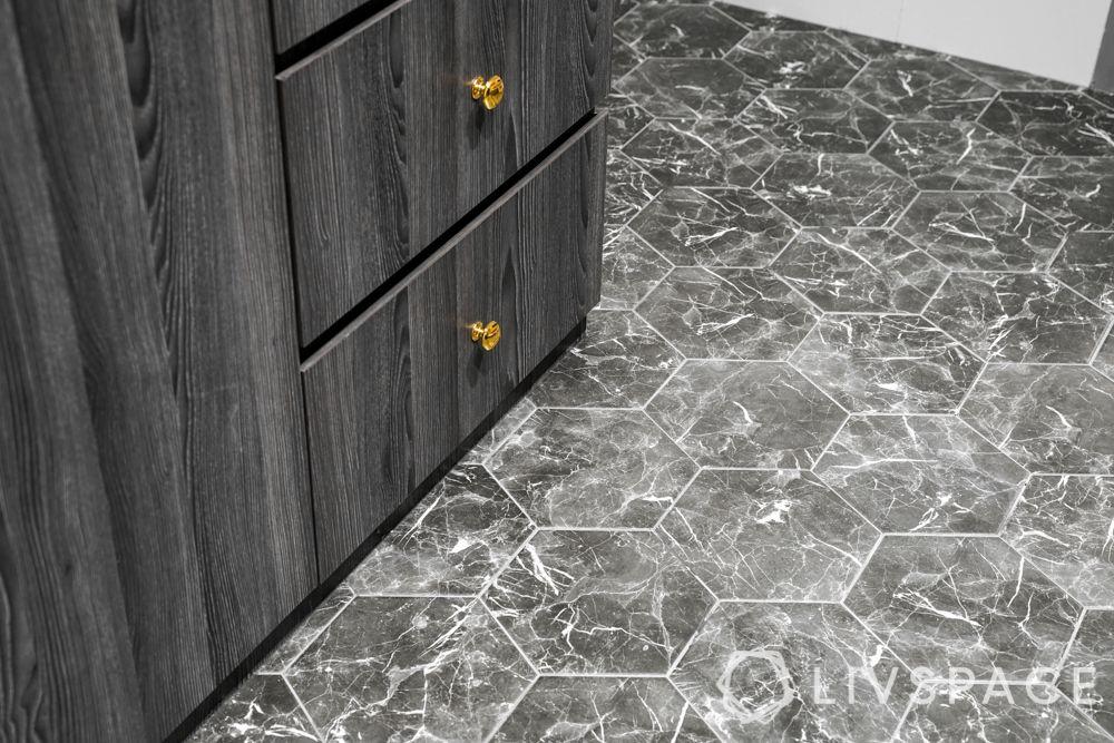 3 room bto design-kitchen flooring-herringbone pattern flooring