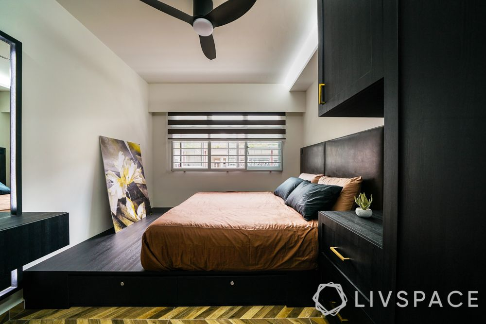 small bedroom ideas-platform bed-brown laminate finishes