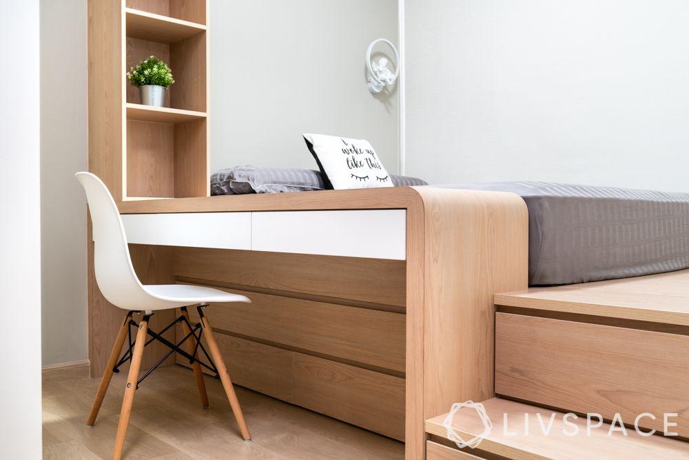 home design-light oak wood laminate-double bed-sliding wardrobes-vertical storage