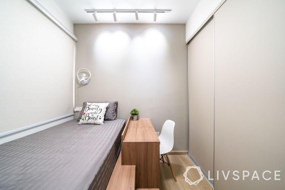 home design-dark oak wood laminate-staircase storage-platform bed-desk-cupboard with niche