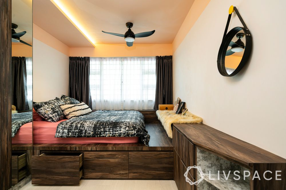 ideas for small bedrooms-platform bed-under-bed storage