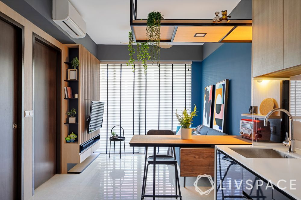 contemporary interior design-blue wall-fluted panels