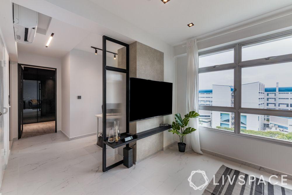tv-wall-design-partition-black-floating-shelf-glass-partition