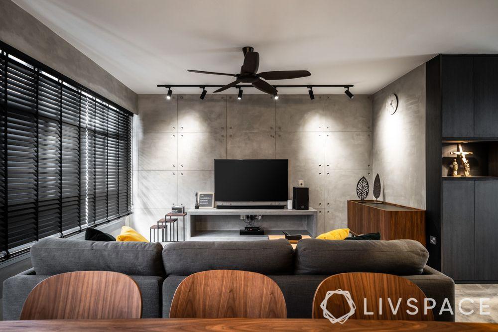 tv-wall-design-industrial-grey-sofa-floating-tv-unit