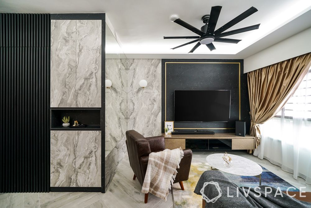 false ceiling-l box lighting-tv unit-marble designs