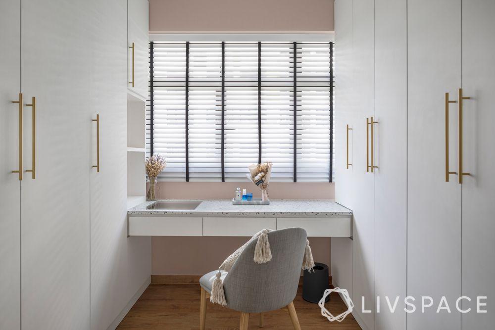 Girls room ideas-study and vanity desk-wardrobe designs