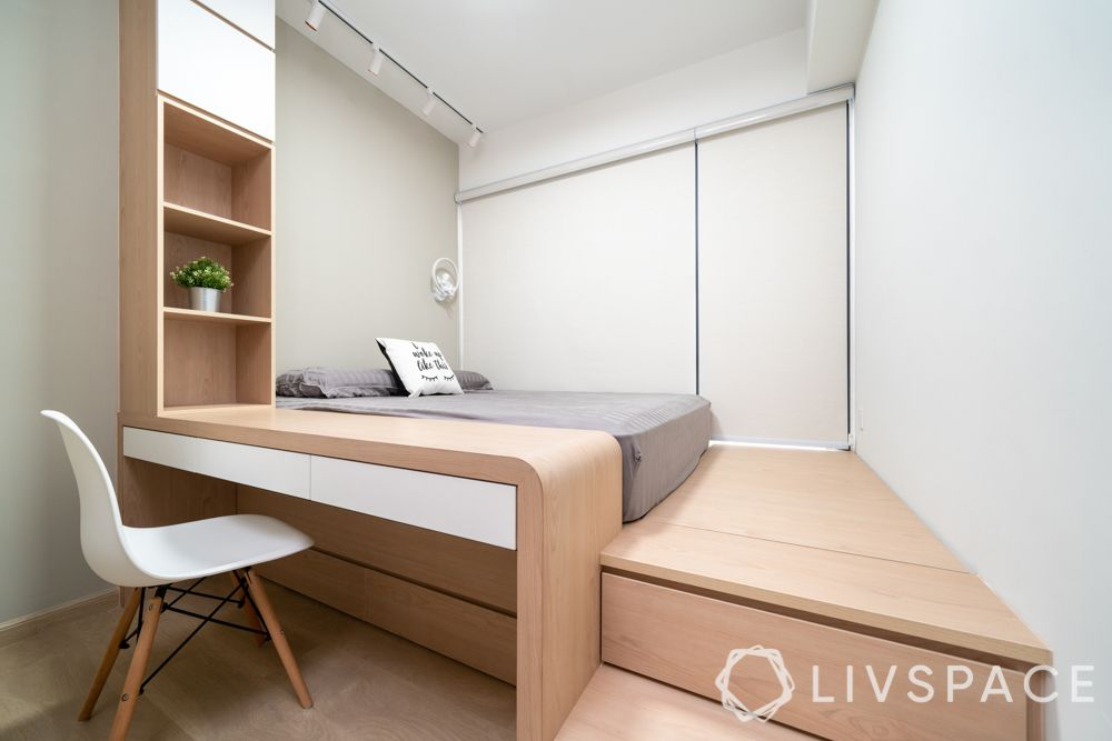 hdb bedroom design with study table-oak and plywood-study unit-platform storage