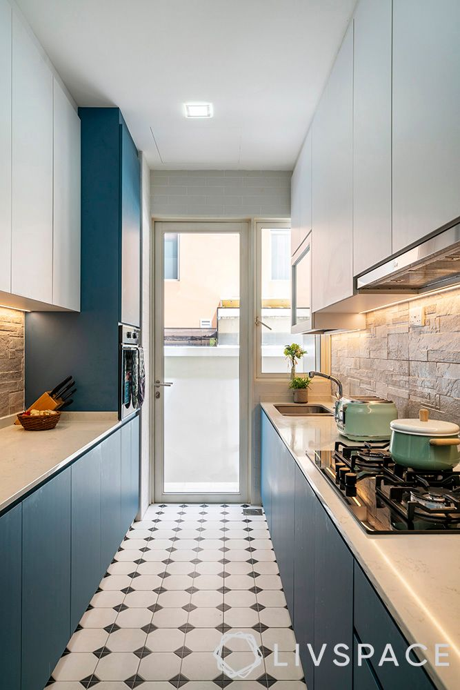 landed house interior design-blue kitchen-laminate kitchen cabinet