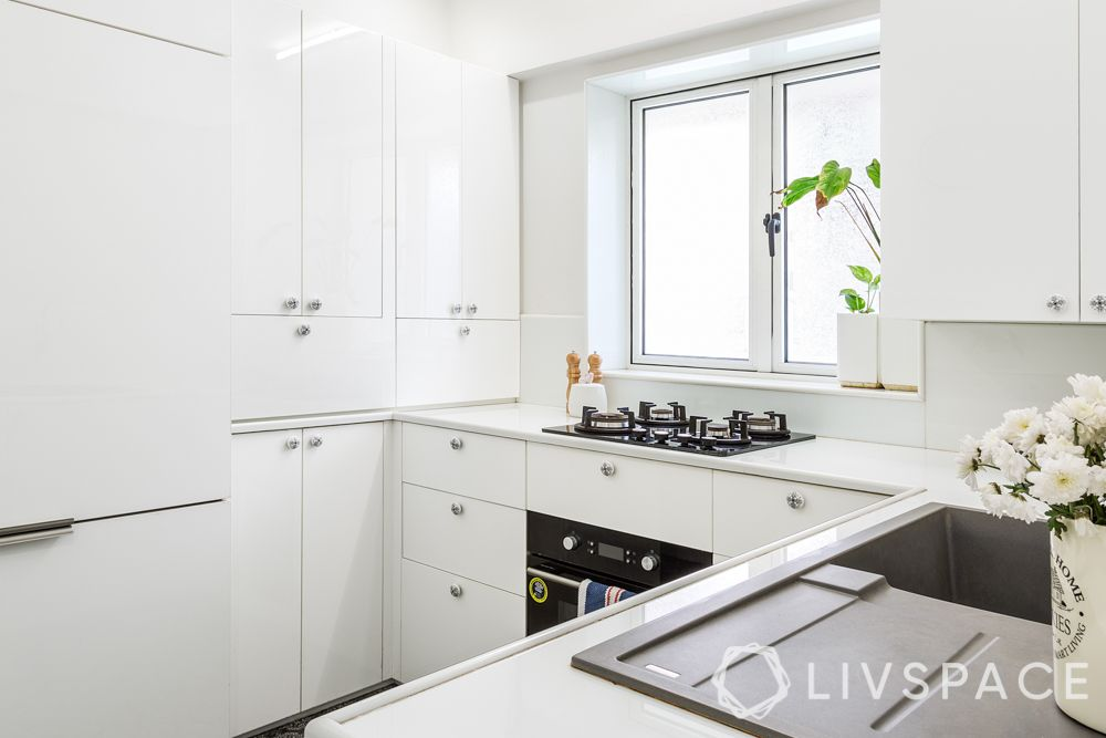 small kitchens-white interiors-white cabinets-white countertop
