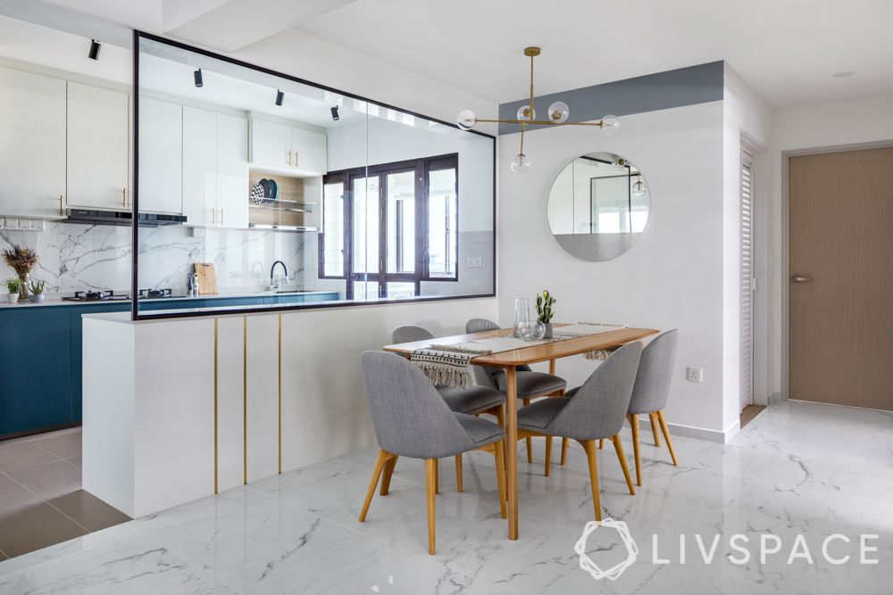 open concept kitchen-glass partition-marble flooring