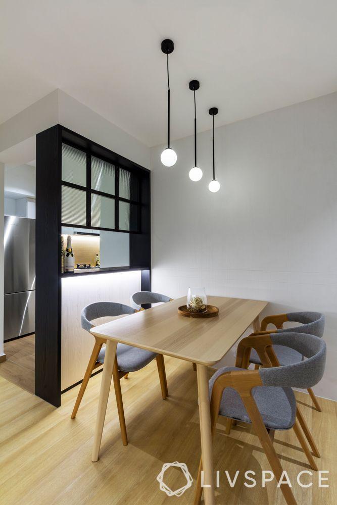 open concept kitchen-mini bar-glass partition