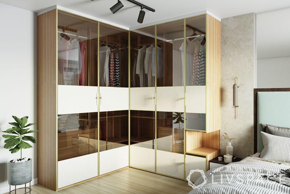 wardrobe designs for bedroom-5-door wardrobe-l-shaped-glass shutter
