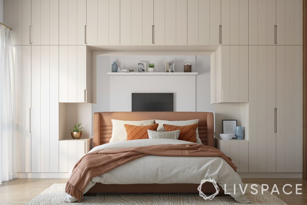 wardrobe designs for bedroom-built-in wardrobe-headboard storage