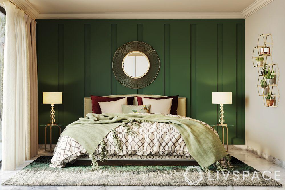 bold-dark-green-centre-wall-bedroom-trims