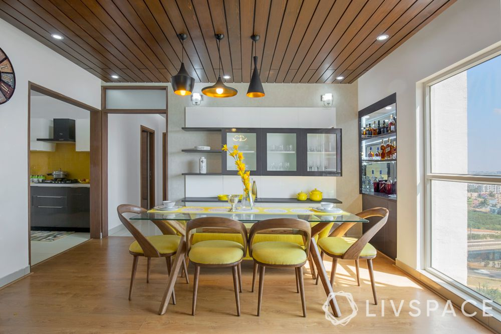 modern interior design-wooden ceiling-yellow chairs