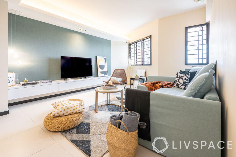 hdb renovation ideas-grey sofa-rattan cushion