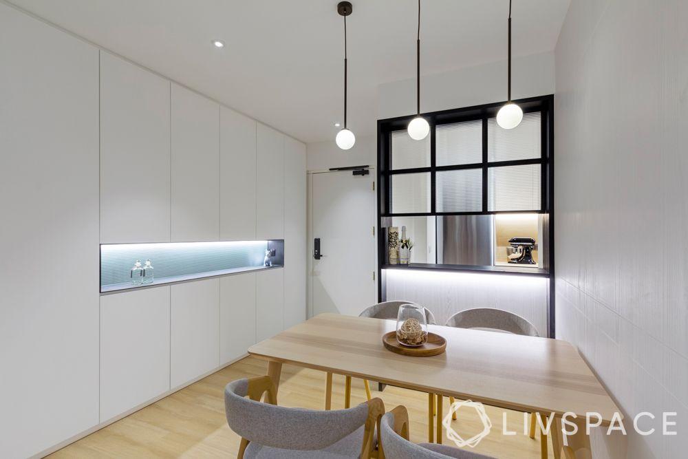 hdb renovation ideas-white storage unit-mini bar