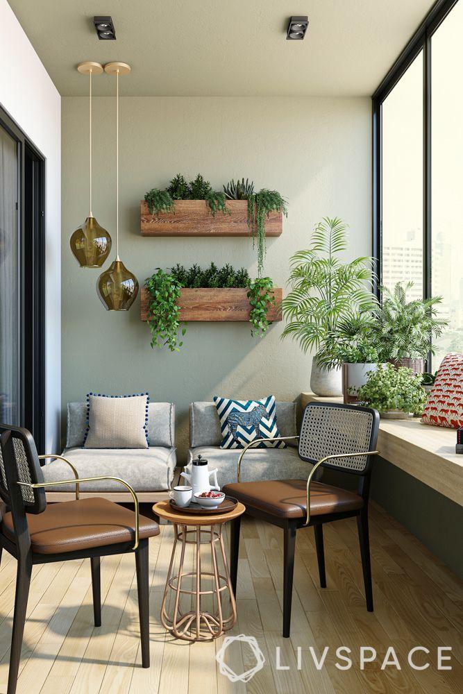 balcony designs-lighting-seating-planters-coffee table set