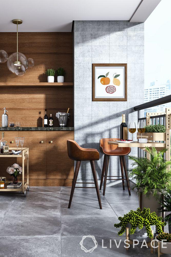 balcony designs-lighting-seating-planters-bar cart-bar unit