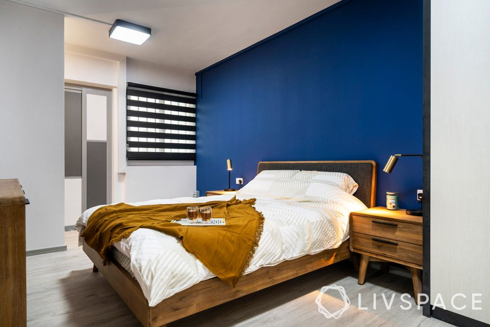3 room hdb renovation-blue bedroom-wooden bed-side tables