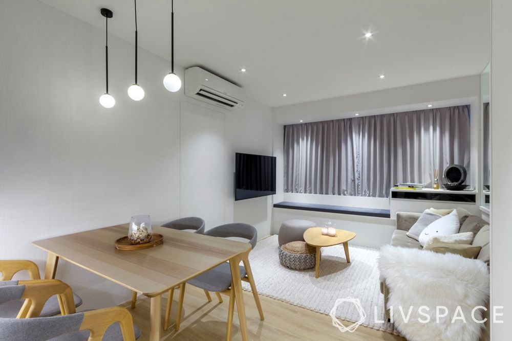 3 room hdb renovation-grey furniture-lighting-living room design