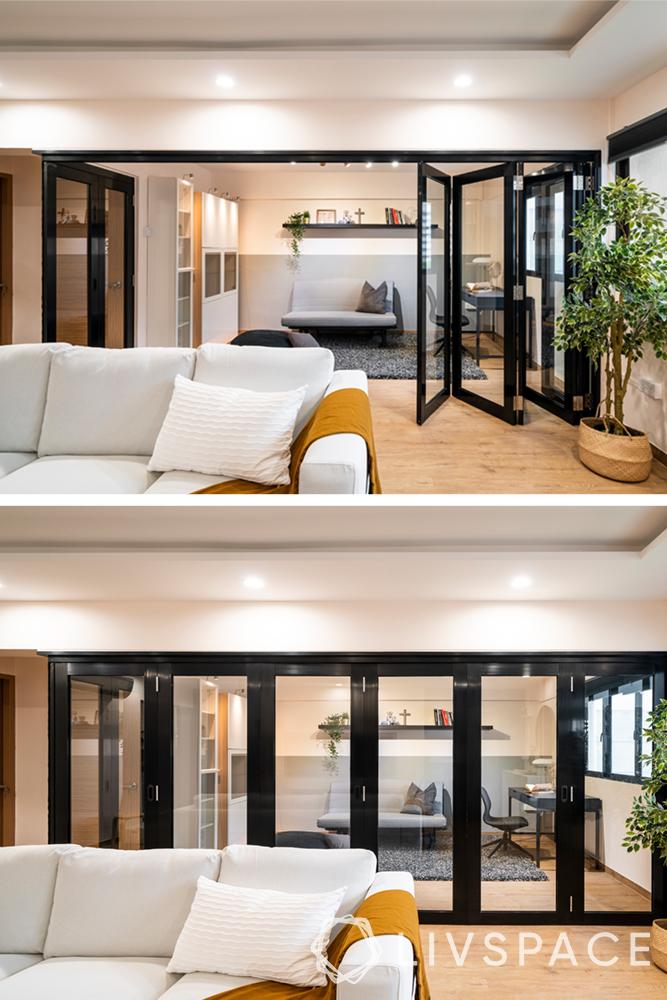 room divider-folding door-glass door