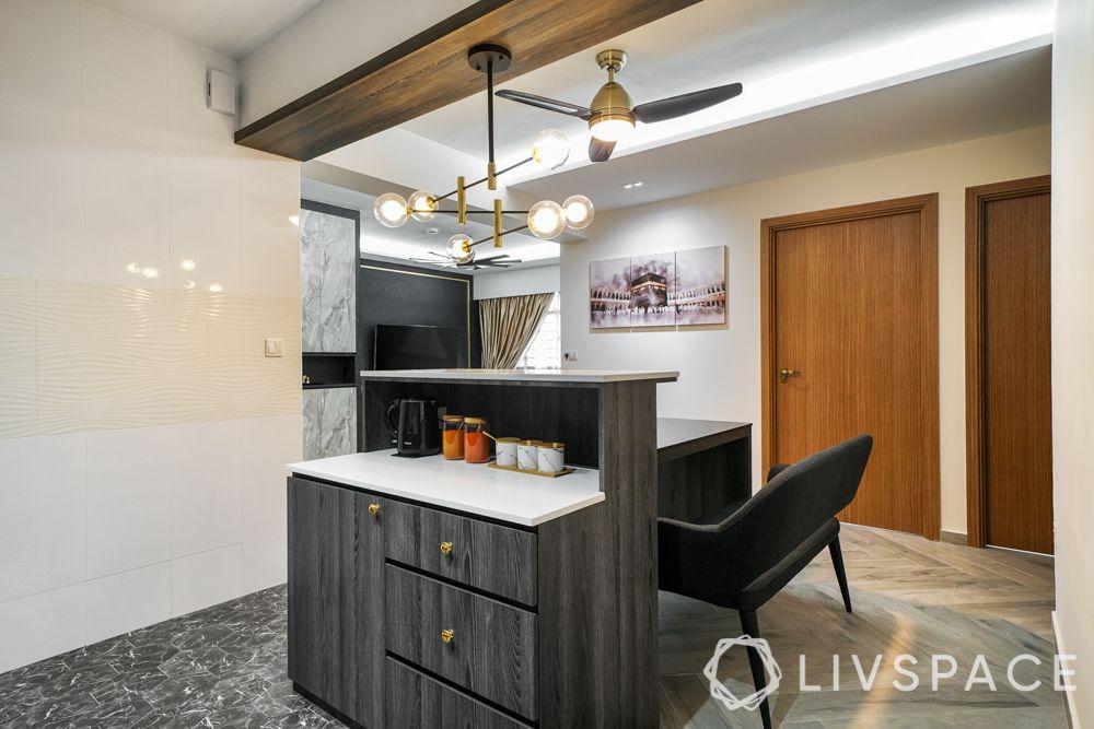 glass partition-semi open kitchen