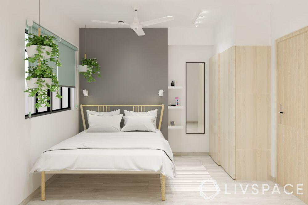 grey wall-sliding wardrobe