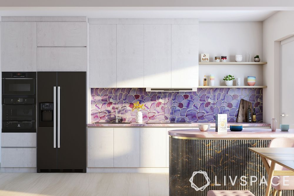 white-kitchens-black-appliances-purple-backsplash