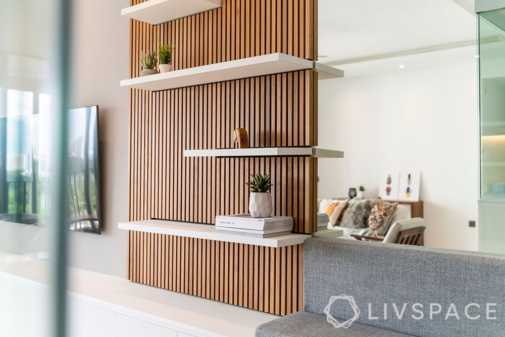 wall treatment ideas-wooden panelling-tv wall